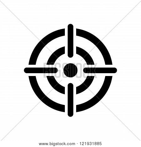 target icon. crosshair in the center of dart target. isolated on white background. vector illustration