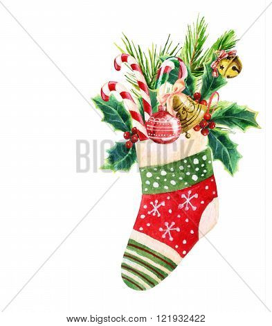 Christmas sock with presents in watercolor. Hand painted illustration