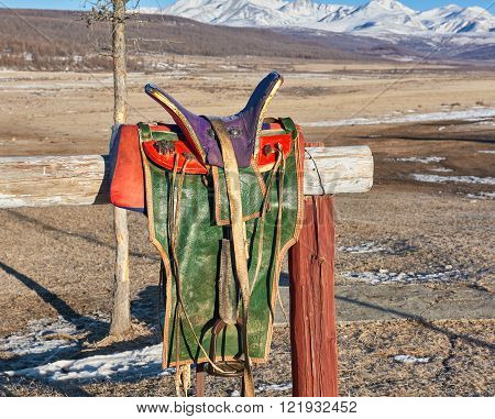 Traditional Mongolian saddle. Very high saddle on a wooden frame