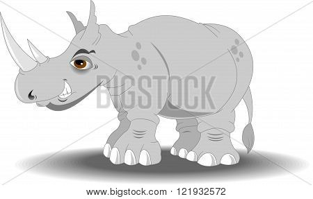 Very angry rhino with big horns vector