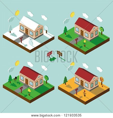 Isometric house set.3D Village.Landscape in seasons.Sky