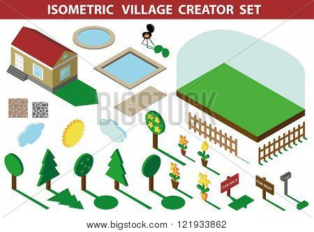 Isometric house.3D Village Landscape creator kit