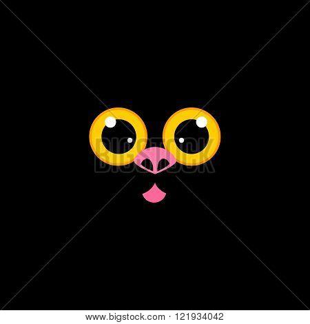 Cat muzzle at black
