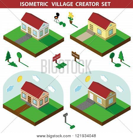 Isometric house.3D Village Landscape creator set