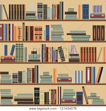 Vector seamless bookshelf pattern random books on shelves beige background. Design for websites textile fabric brochures booklets invitation cards flyers