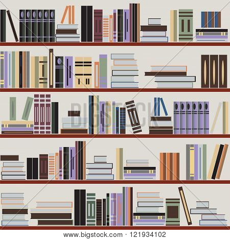 Vector seamless bookshelf pattern random books on shelves grey background. Design for websites textile fabric brochures booklets invitation cards flyers