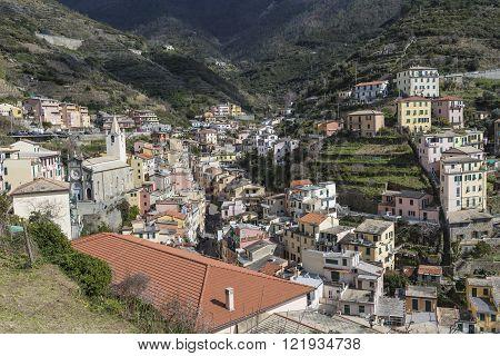 Riomaggiore Village In Italy. Riomaggiore Is One Of Five Famous Coastline Villages In The Cinque Ter