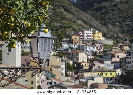 Riomaggiore village in Italy. Riomaggiore is one of five famous coastline villages in the Cinque Terre National Park Liguria.