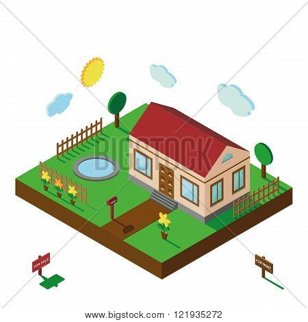 Isometric house.3D Village landscape,yard
