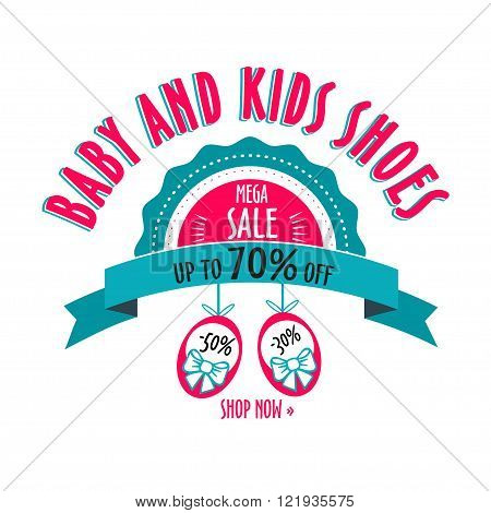 sale label for shoes kids stores. Mega sale badge. Vector tag for print