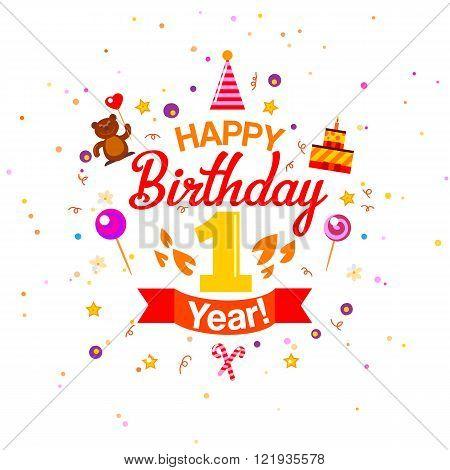 First Birthday greetings card