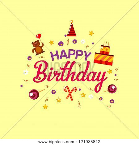Happy Birthday flat style card with gifts