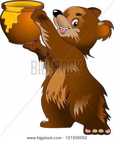Jolly Bear and a large pot of honey vector