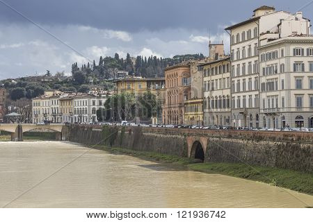 Florence, Italy - March 07: Ponte Santa Trinita Bridge Over The Arno River Shown On March 07, 2016 I