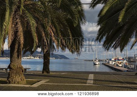 LA SPEZIA ITALY - MARCH 09 2016: Yachts in the port of La Spezia Italy