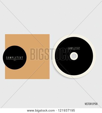 Blank compact disk with cover mock up template. Vector illustration
