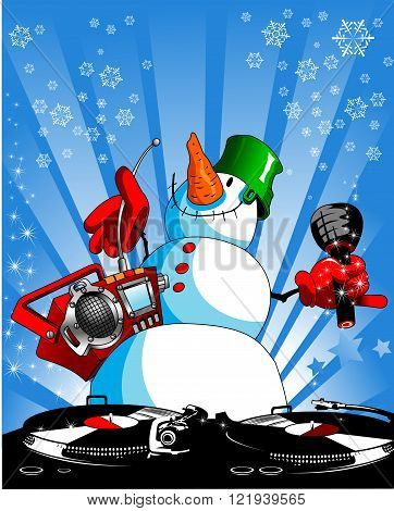 funny snowman with a tape recorder and a microphone vector