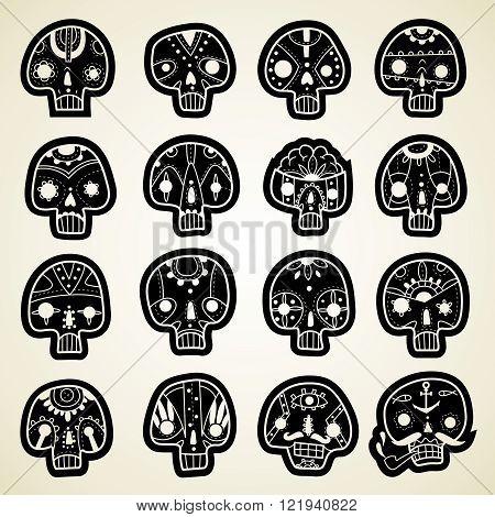 A set of sixteen vector skulls. Vector Skulls set. Vector illustration