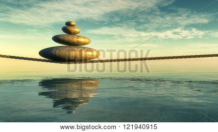 illustration of zen stones concept in 3d