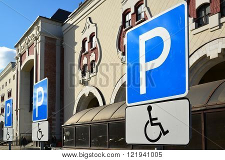 Parking sign for disabled people to the Kazansky Railway Station