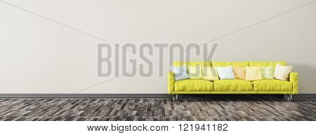 Modern interior background of living room with green sofa panorama 3d render
