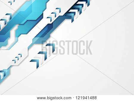 Blue hi-tech corporate design with arrows. Vector background illustration