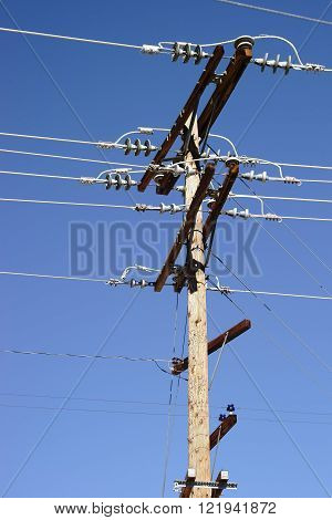 The close-up and detailed view of an electric pole.