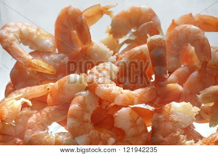 Cooked unshelled tiger shrimps close up