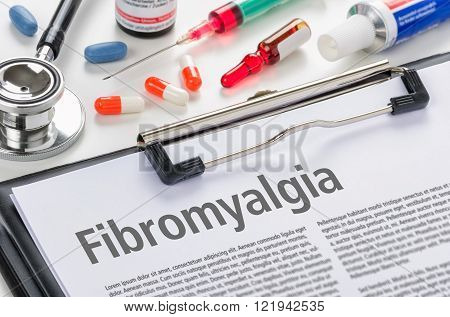 The Diagnosis Fibromyalgia Written On A Clipboard