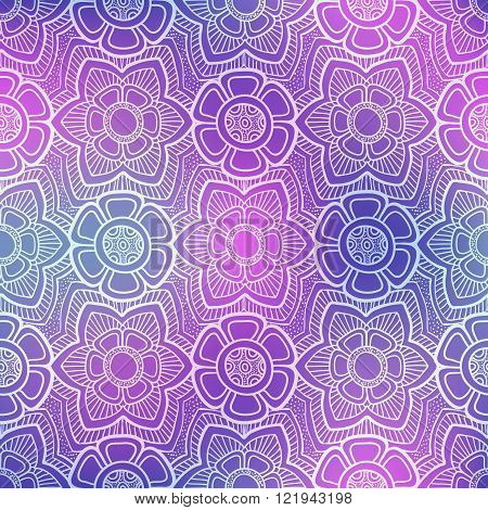 Seamless doodle flower pattern on shiny purple background