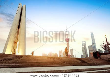 China Shanghai Bund modern architecture and monument May 2015