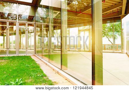 Lawn China Shanghai Bund glass sun room,