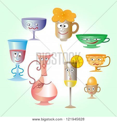 Happy smiling cartoon glassware and kitchenware characters kettle and chopping board for restaurant or cafe design