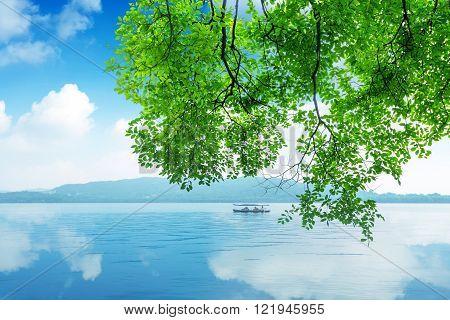 China Hangzhou West Lake scenery beauty of yacht