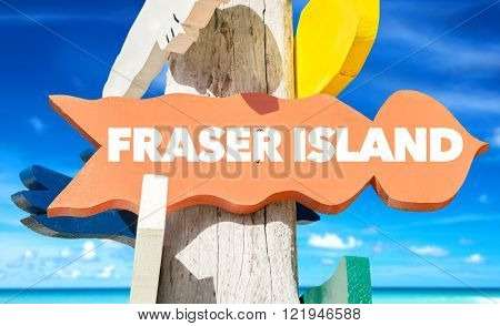 Fraser Island signpost with beach background