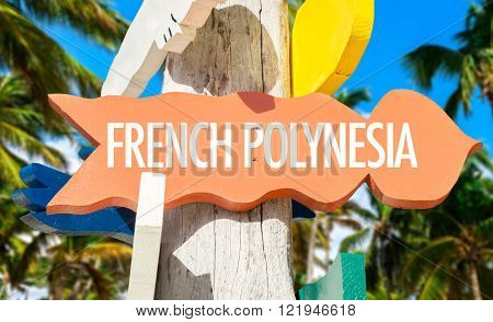 French Polynesia signpost with palm trees