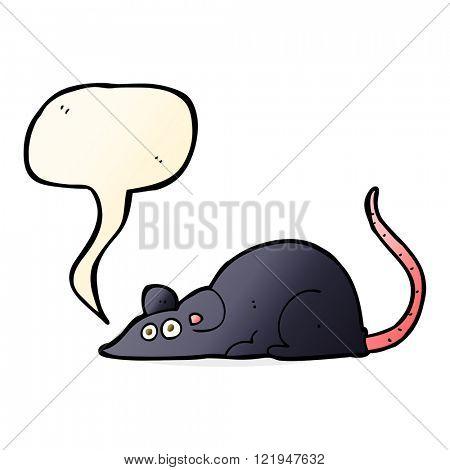cartoon black rat with speech bubble