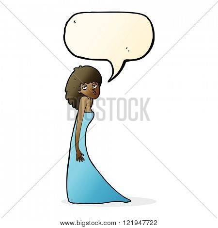 cartoon woman pulling photo face with speech bubble