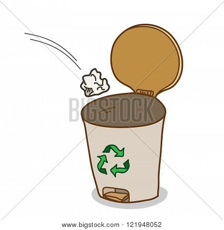 Garbage Bin, a hand drawn vector illustration of a garbage bin with recycle symbol on it.