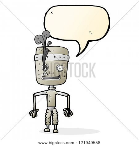 cartoon malfunctioning robot with speech bubble