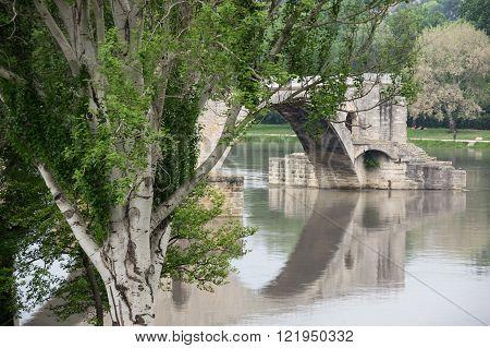 Pont d'Avignon and Rhone river in Avignon, France