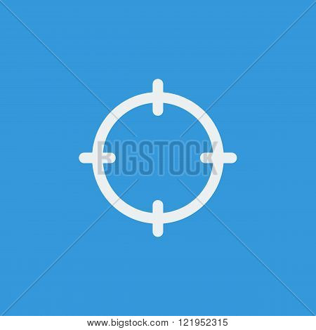 Aim Icon, On Blue Background, White Outline, Large Size Symbol