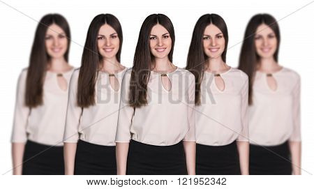 Women clones standing in a row