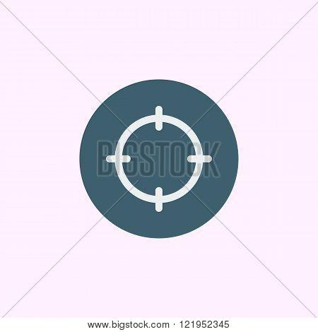 Aim Icon, On Blue Circle Background, White Outline