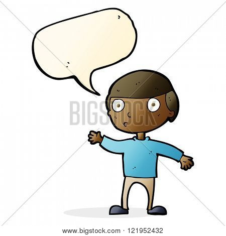 cartoon waving man with speech bubble