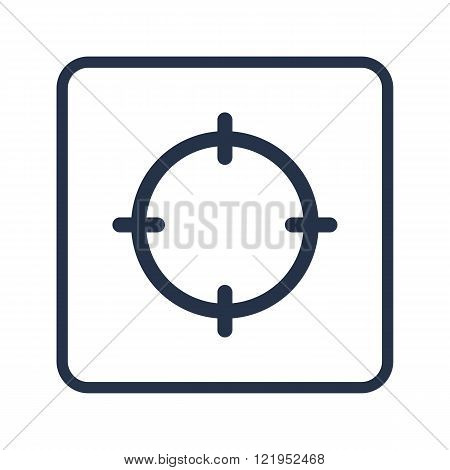 Aim Icon, On White Background, Rounded Rectangle Border, Blue Outline