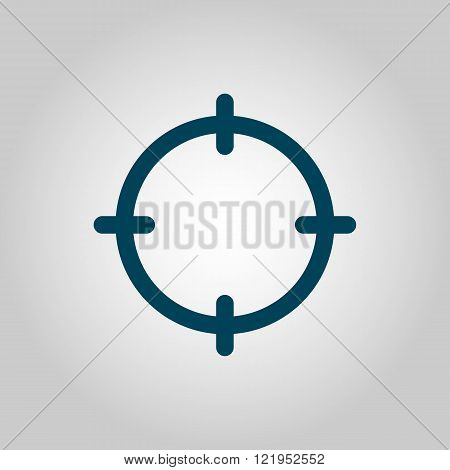 Aim Icon, On Grey Background, Blue Outline, Large Size Symbol
