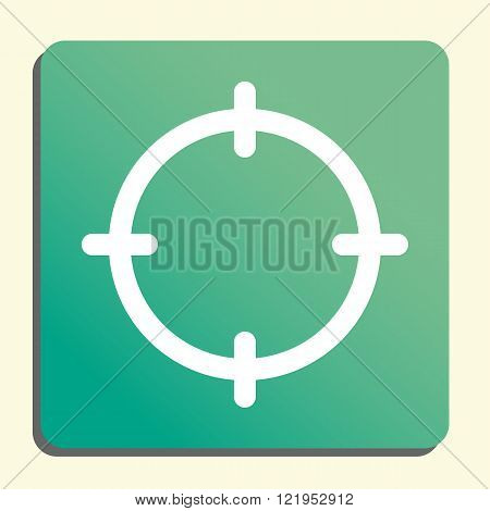 Aim Icon, On Button Style Green Background, Yellow Light, Shadow