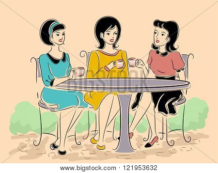 Illustration of a Group of Girls in Retro Clothing Having Tea at an Outdoor Cafe