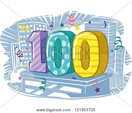Illustration Featuring the Number 100 Sitting on Top of a Building